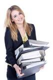 Дружелюбная бизнес-леди волочит папку Стоковое Изображение