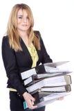 Дружелюбная бизнес-леди волочит папку Стоковая Фотография RF