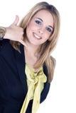 Дружелюбная бизнес-леди с позывным Стоковое Изображение