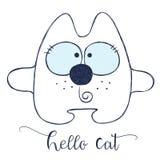Дружелюбный кот шаржа иллюстрация штока