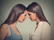 Друзья бортового профиля несчастные молодые женские смотря один другого Стоковые Фото