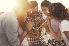 Друзья выпивая коктеиль ананаса Стоковое Фото