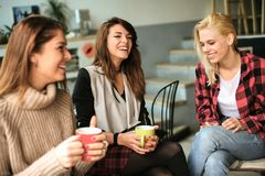Друзья в кафе стоковое фото