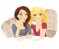 Друзья в кафе иллюстрация штока
