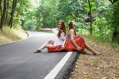 Друзья в дороге путешествовать с случаем гитары Стоковые Изображения RF