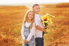 Друзья в пшеничном поле на заходе солнца стоковые фото