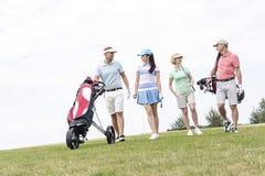 Друзья говоря пока идущ на поле для гольфа против ясного неба стоковые фотографии rf