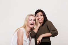 Друзья женщин multiracial имея потеху Стоковое Фото