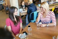 Друзья злословя и беседуя в кафе Стоковое Изображение RF