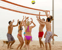 Друзья играя волейбол Стоковые Изображения