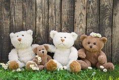 Друзья или счастливая семья плюшевого медвежонка на деревянной предпосылке для conc Стоковая Фотография RF