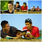 Друзья коллажа счастливые молодые ослабляя Стоковые Фотографии RF