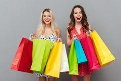 Друзья молодых дам при яркие губы состава держа хозяйственные сумки Стоковое Фото
