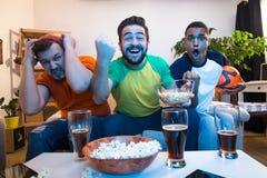 Друзья наблюдая футбольную игру стоковые фотографии rf