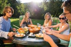 Друзья наслаждаясь едой на приём гостей в саду Стоковые Изображения RF