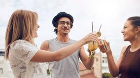Друзья наслаждаясь пить во время партии крыши Стоковая Фотография RF