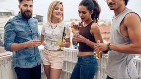 Друзья наслаждаясь пить во время партии крыши Стоковое Фото