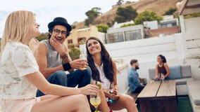Друзья наслаждаясь пить во время партии крыши Стоковая Фотография