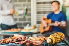 Друзья партийной группы после полудня наслаждаясь выпивающ пиво с гитарой свинины барбекю и жаркого счастливой играя наслаждаясь  стоковое фото