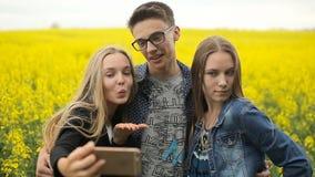 Друзья подростка представляя и принимая selfies акции видеоматериалы