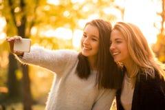 Друзья принимая selfie в природе Стоковые Фото