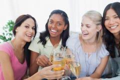 Друзья провозглашать с белым вином и усмехаясь на камере Стоковое фото RF