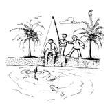 друзья рыболовства иллюстрация штока