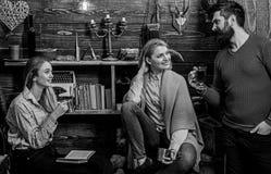 Друзья, семья проводить приятный вечер, внутренняя предпосылка Семья наслаждается каникулами в доме егерей Девушки и человек стоковое изображение rf