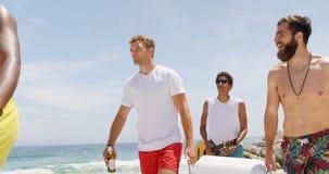 Друзья смешанной гонки мужские нося коробку льда на пляже 4k акции видеоматериалы