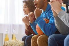 Друзья смотря спорт на ТВ Стоковые Изображения RF