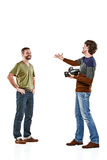 Друзья с камерой на белизне стоковое фото rf