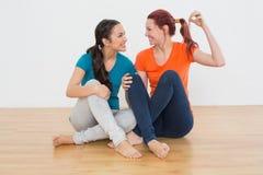 Друзья с домом пользуются ключом сидеть на поле Стоковое Изображение