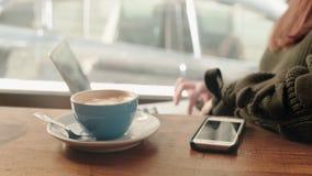 Друзья тратя время в кафе на полдне сток-видео