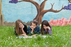 Друзья читают книгу на парке Стоковые Фотографии RF