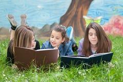 Друзья читают книгу на парке Стоковое Изображение RF