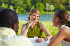 друзья picknicking стоковое изображение rf