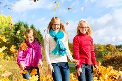 Друзья romping в листьях сбора бросая листву Стоковые Изображения