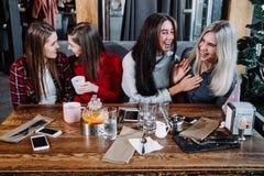 4 друз в кафе смотрят камеру и смеются над Стоковые Изображения