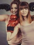 2 друз женщин нося перчатки бокса Стоковое фото RF