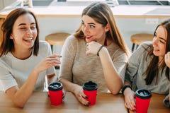 3 друз на кафе наслаждаясь их временем совместно Стоковое Изображение