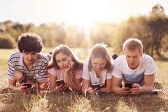 4 друз сфокусированного в их умных телефонах, наслаждаются часами досуга на природе, лож на зеленой траве, фото доли после пикник Стоковые Изображения
