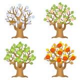 Vector cartoon apple tree on a different seasons. Autumn, winter, summer, spring royalty free illustration