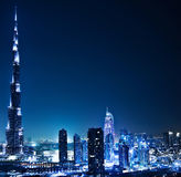 Дубай городской на ноче Стоковое фото RF