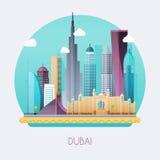 Дубай Ландшафт горизонта и вектора зданий и известной земли Стоковые Изображения