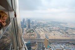ДУБАЙ, ОАЭ 19-ОЕ ЯНВАРЯ: Небоскребы в центре города на января Стоковые Изображения RF