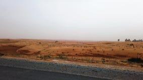 Дубай, Объениненные Арабские Эмираты - 17-ое апреля 2019: Пейзаж шоссе через ОАЭ дезертирует во время пыльной бури акции видеоматериалы