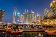 Дубай - 10-ое января 2015: Район Марины дальше Стоковые Изображения RF
