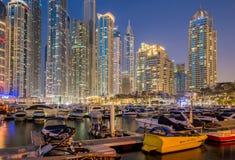 Дубай - 10-ое января 2015: Район Марины дальше Стоковые Фотографии RF