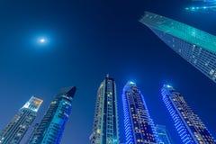 Дубай - 10-ое января 2015: район Марины дальше Стоковое Изображение