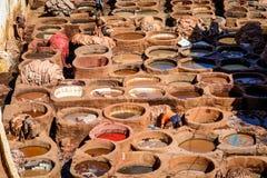 Дубильни в Fez, Марокко Стоковое Изображение RF